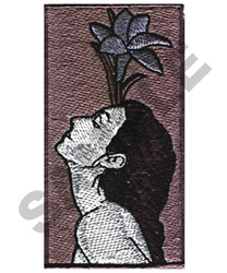 WOMAN WITH LILY embroidery design