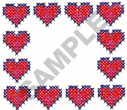 CROSS STITCHED HEARTS embroidery design