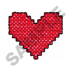 CROSS STITCHED HEART embroidery design