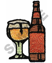 BEER & GLASS embroidery design