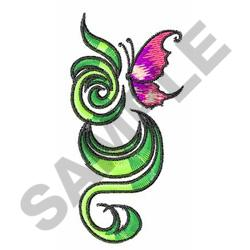 BUTTERFLY AND SWIRLS embroidery design