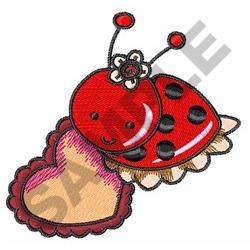 LADYBUG AND HEART embroidery design