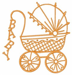 BABY LETTERS ON CARRIAGE embroidery design