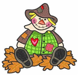 GIRL SCARECROW IN LEAVES embroidery design