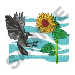 CROW AND SUNFLOWER embroidery design