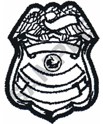 POLICE BADGE OUTLINE embroidery design