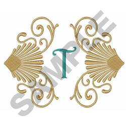 SCROLLS AND SHELLS T embroidery design