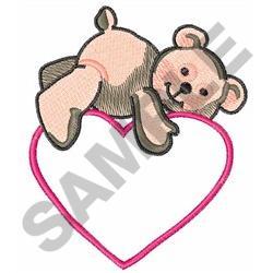 TEDDY BEAR ON HEART embroidery design