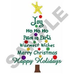 CHRISTMAS TREE GREETINGS embroidery design