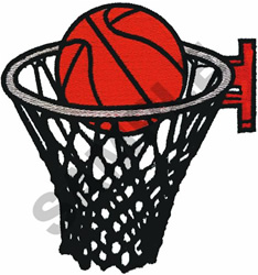 BASKETBALL & HOOP embroidery design