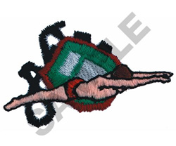 SWIMMER WITH STOP WATCH embroidery design