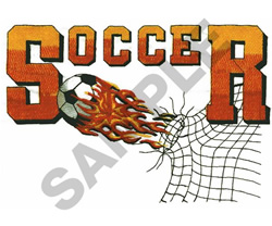 SOCCER LOGO WITH FLAMING BALL embroidery design