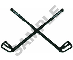 CROSSED GOLF CLUBS embroidery design