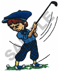 COMIC KID GOLFER embroidery design