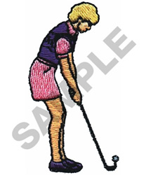 LADY GOLFER embroidery design