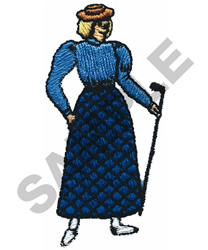 OLD FASHION WOMAN GOLFER embroidery design