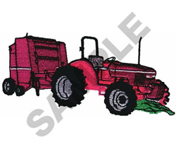 TRACTOR WITH BALER embroidery design