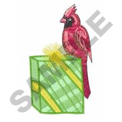CARDINAL ON GIFT embroidery design