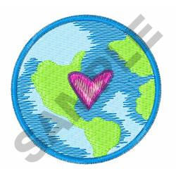 PLANET EARTH WITH HEART embroidery design