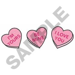 VALENTINES CANDY HEARTS embroidery design