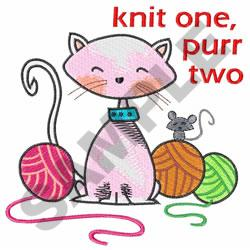 KNIT ONE PURR TWO embroidery design