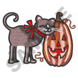 BLACK CAT AND PUMPKIN embroidery design