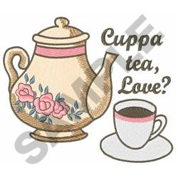 CUPPA TEA LOVE embroidery design