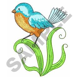 BLUEBIRD ON LEAVES embroidery design