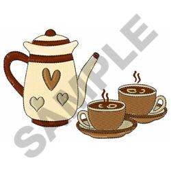 COFFEE CARAFE AND CUPS embroidery design