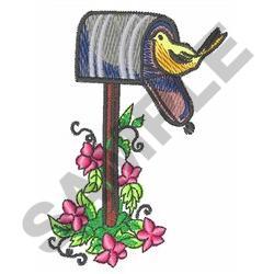 BIRD ON MAILBOX embroidery design