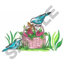 BIRDS AND FLOWER BASKET embroidery design