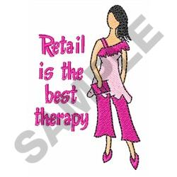 RETAIL IS THE BEST THERAPY embroidery design