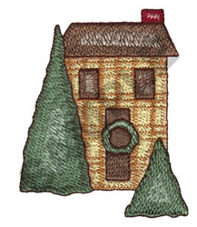 HOUSE DURING THE CHRISTMAS SEASON embroidery design