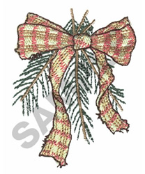 RIBBON WITH PINE LEAVES embroidery design