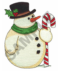SNOWMAN WITH CANDY CANE embroidery design