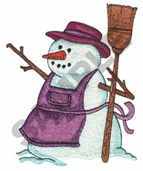 SNOWMAN W/APRON AND BROOM embroidery design