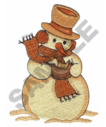 SNOWMAN HOLDING BIRD embroidery design