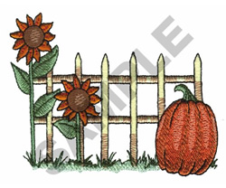 FENCE, SUNFLOWERS & PUMPKIN embroidery design