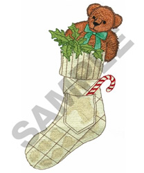 STOCKING WITH TEDDY BEAR embroidery design