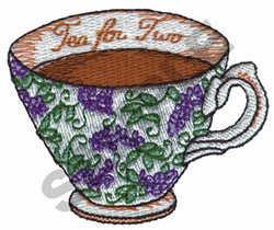 TEA FOR TWO CUP embroidery design