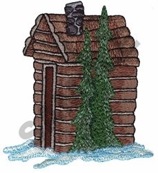 CABIN OR OUTHOUSE embroidery design