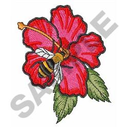 BEE ON HIBISCUS embroidery design