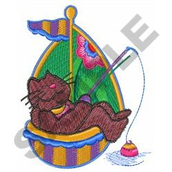 CAT FISHING ON BOAT embroidery design