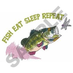 EAT SLEEP FISH REPEAT embroidery design