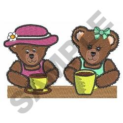 BEARS DRINKING COFFEE embroidery design