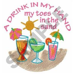 A DRINK IN MY HAND embroidery design
