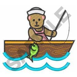 GIRL BEAR FISHING embroidery design
