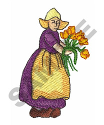LADY W/FLOWERS embroidery design