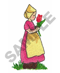 GIRL HOLDING FLOWER embroidery design