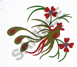 ASIAN ROOSTER embroidery design